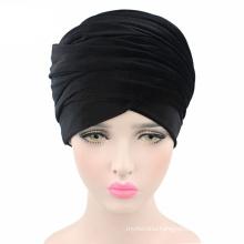 2017 Hot sale black velvet turban hat long tail cap head scarf wholesale women muslim hijab scarf