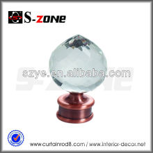 Clear glass crystals for the blind curtain rod metal rod support