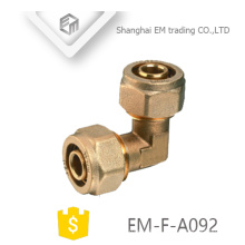 EM-F-A092 90 degree elbow brass double compression connector pipe fitting for PVC pipe