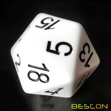Bescon Jumbo D20 38MM, Big Size 20 Sides Dice Solid White, Big 20 Faces Cube 1.5 inch
