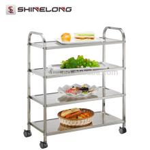 Hotel Restaurant 201/304 Style Food Stainless Steel Serviço de limpeza / cozinha Trolley Cart