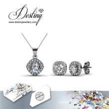Destiny Jewellery Crystal From Swarovski Set Retro Pendant and Earrings