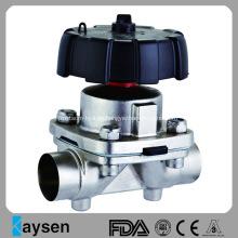 Válvula de diafragma sanitaria Extremos de soldadura Tipo manual