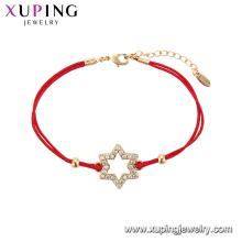 75548 Xuping Venta Caliente popular Mujeres chapado en oro diseño original cuerda roja Forma de Estrella Pulsera
