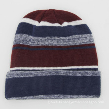2020 Fashion Slouchy acrylic cuff  beanie Striped knitted winter hat