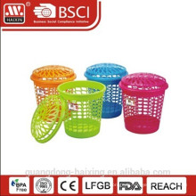 Panier à linge plastique vente chaude / panier à linge avec couvercle rond