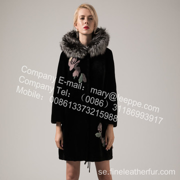 Lady Fur Coat With Mink Flower In Winter
