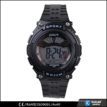 silicone plastic band watches black color wrist watch