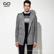 Hombres de acrílico de lana con capucha abrigo suéter de rebeca