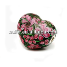flor coração formas latão chapeamento de prata jóias murano grânulos