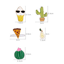 Lovely Set Cactus, Ice Cream Brooch Fashion