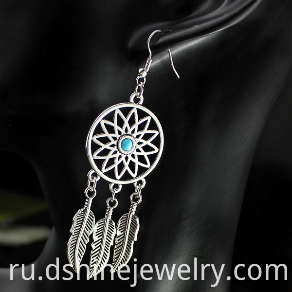 Alloy Feather Dangle Earrings
