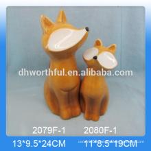 Wholesale personalized ceramic fox ornament for home decor