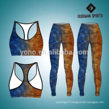 Impression confortable vêtements de fitness yoga coloré pour les dames