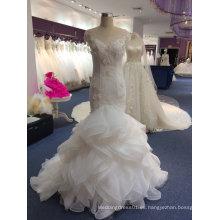 Elegante de alta calidad Illusion cuello vestido de boda de sirena real