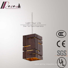 Chinese Style Brown Wooden Square Decorative Pendant Lamp