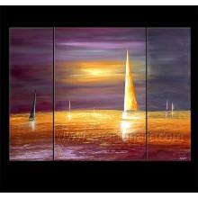 Barco de navegación hecho a mano del 100% en la pintura al óleo de la lona (LA3-180)