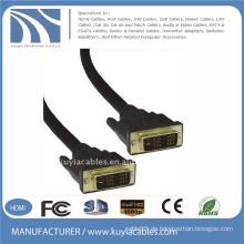Gold überzogenes schwarzes DVI zum DVI Kabel DVI 18 + 1 FÜR SAMSUNG DELL MONITOR