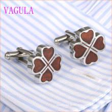 Boutons de Manchette VAGULA Lucky Leaf en Acier Inoxydable Rouge 360