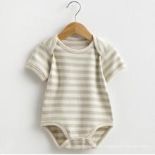 Verano de algodón orgánico manga corta bebé rayas mameluco