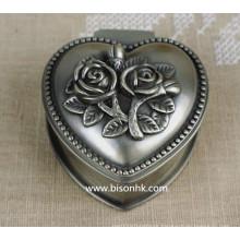 Hot Venda Atacado Clássica Liga De Zinco Metal Antique Prata Engravado Rosees Elegante Caixa Do Anel De Casamento