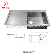 Deep built-in drainboard kitchen sink for cabinet