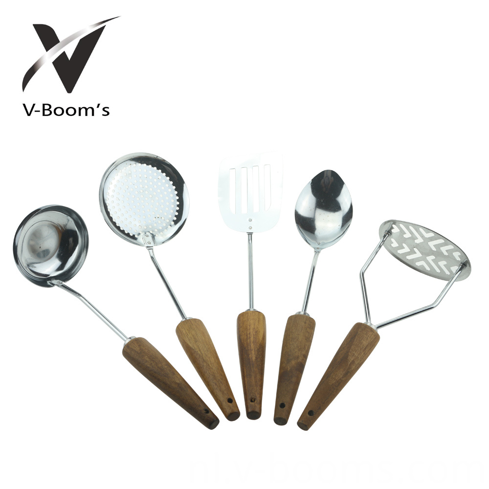 5 Piece Kitchen Utensil Set Wood Handle