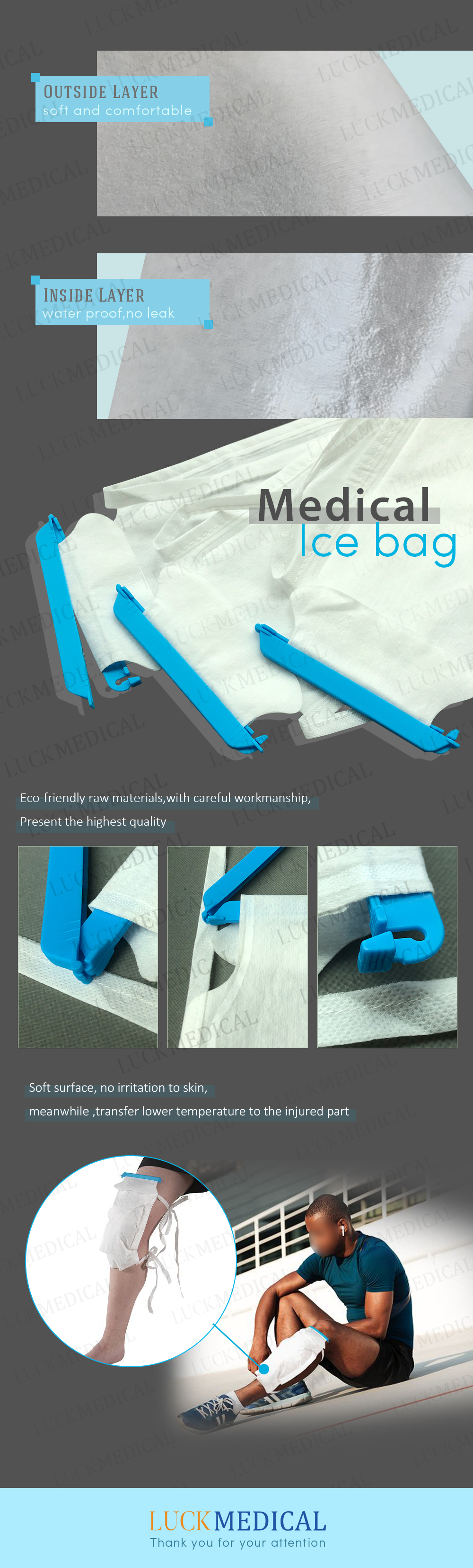Package Medical Surgical Disposable Ice Bag For Injury