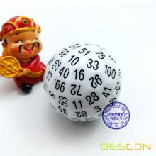 Bescon Polyhedral Dice 100 Sides Dice, D100 die, 100 Sided Cube, D100 Game Dice, 100-Sided Cube of White Color