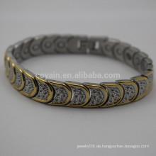 Antike Edelstahl zwei Ton Mond Link Armband mit Metall Gürtelschnalle