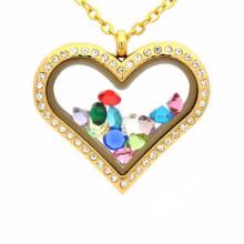 Namorada coração forma cz medalhão pingente de colar de jóias