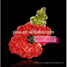 Alta alabanza hembra alimentado flor broche de diamantes de imitación