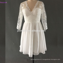 Short Wedding Dress with Long Sleeves Sweetheart Lace Applique V Back With Straps Chiffon Bridal Gown Vintage