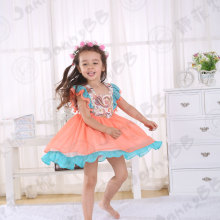 Girls orange vintage flutter sleeve easter dresses