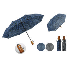 Custom Wooden Handle Automatic Folded Umbrella for Full Body Parapluie
