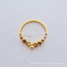 Oro plateado anillo de nariz de plata de ley 925, hecho a mano Septum Piercing anillo de nariz de plata joyería