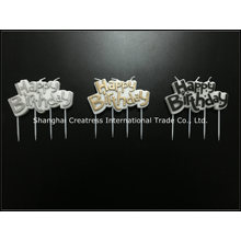World Best Selling New Silver Pure Paraffin Wholesale Factory Art Letter Happy Birthday Candle