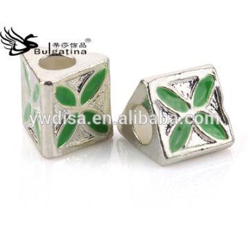 Schmucksache-Korne mit Zink-Legierungs-materieller grüner Farben-Emaille mit dem Silber überzogenen Großverkauf neu 2014