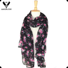Promotional Long Polyester Flower Scarf
