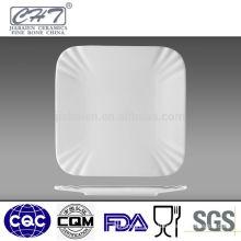 Hot sale fine bone china white ceramic square dinner plates