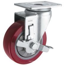 Roulette en polyuréthane simple effet à action moyenne (rouge) (G3206)