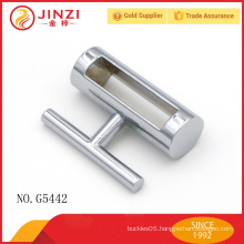 Zinc alloy lock shape decoration chrome bag hardware