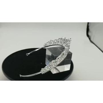 Großhandel Silber Kristall runde Festzug Kronen China Edle Krone Hochzeit Braut Tiara für Braut und Brautjungfern