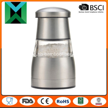 Manual stainless steel salt and pepper mill
