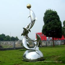 Edelstahl Skulptur Delphin Show Kunst Skulptur Für Garten / Outdoor