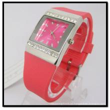 Relógio de presente de banda de silicone de quartzo pedra vermelha