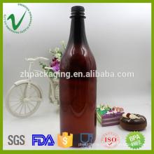 food grade wholesale empty amber plastic bottle for wine packaging