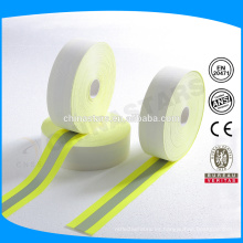 FR cinta reflectante de suave aramida respaldo en color amarillo-plata-amarillo