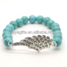 Bracelet en pierres précieuses en pierres rondes avec pierres rondes Turquoise 8MM avec morceau d'aile en alliage diamant
