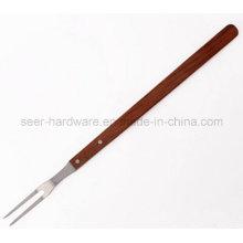 """21 """"de madeira longa alça de aço inoxidável churrasco Fork (SE-5251)"""